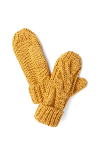 Juice Stopping By Mittens by Louche - Yellow, Solid, Fall, Winter, Good, Casual, Knit