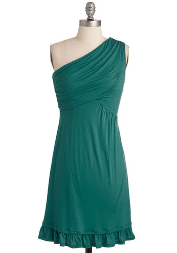 Midnight Sun Dress in Teal - Best Seller, Solid, Ruffles, Casual, One Shoulder, Good, Short, Jersey, Knit, Green, Beach/Resort, Summer, Variation