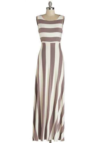 Top of the Byline Dress in Taupe - Jersey, Knit, Grey, White, Stripes, Casual, Maxi, Sleeveless, Variation, Scoop, Long, Beach/Resort