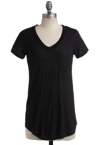 Crushed Cookies Top in Molasses - Black, Solid, Pockets, Casual, Short Sleeves, Spring, Summer, Long, Black, Short Sleeve, Top Rated