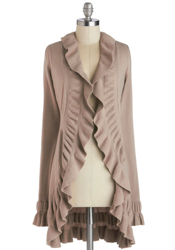 Sesame Chic Cardigan - Cream, Solid, Ruffles, Long Sleeve, Better, Knit, Casual, Brown, Long Sleeve, Top Rated