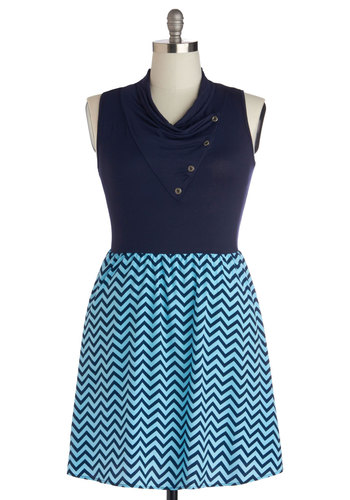 Coastal Crush Dress in Plus Size - Blue, Chevron, Buttons, A-line, Sleeveless, Cowl, Work, Casual, Twofer, Summer, Exclusives