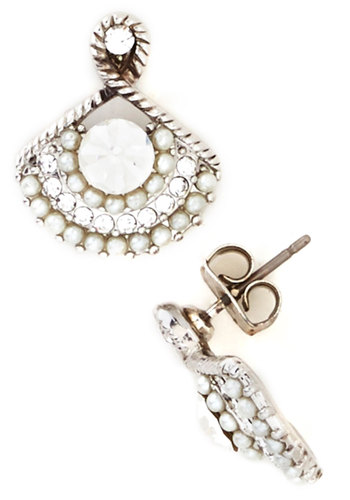 All Done Up Earrings - White, Solid, Pearls, Rhinestones, Luxe, Cream, Silver, Good, Formal