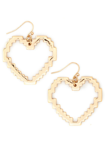 See You Pixelator Earrings - Solid, Cutout, Gold, Good, Gold, Valentine's