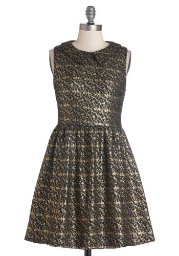 One for the Gleam Dress - Black, Cocktail, Holiday Party, A-line, Sleeveless, Better, Scoop, Embroidery, Peter Pan Collar, Woven, Gold, Short