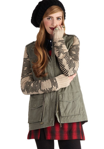 Colorado Rocker Jacket - Mid-length, Cotton, Denim, Woven, 2, Green, Tan / Cream, Black, Solid, Stripes, Epaulets, Pockets, Casual, Long Sleeve, Fall, Green