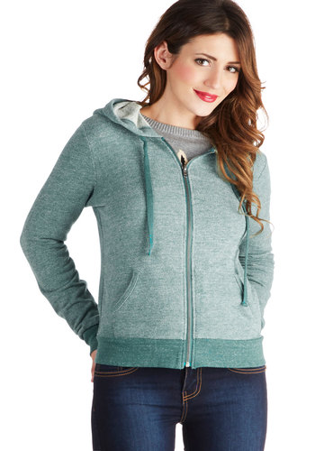 Post-Yoga Treat Hoodie - Cotton, Knit, Blue, Solid, Pockets, Casual, Hoodie, Long Sleeve, Basic, Blue, Winter, 1, Mid-length