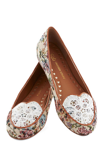Someone Ladylike You Flat - Floral, Lace, International Designer, Flat, Multi, Tan / Cream, White, Casual, Vintage Inspired