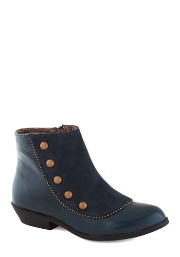 A Liking for Leisure Bootie - Blue, Bronze, Solid, Buttons, Trim, International Designer, Low, Faux Leather, Better, Military