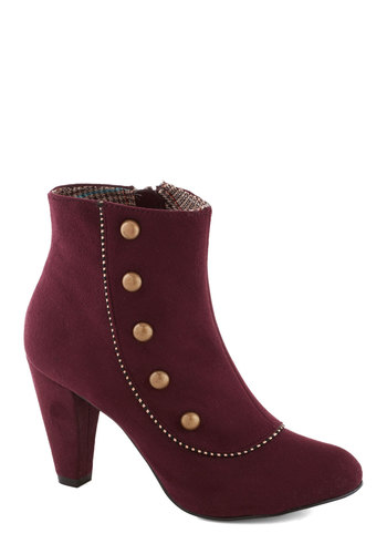 Imagine Spat! Bootie - Red, Bronze, Solid, Buttons, Trim, International Designer, Mid, Military, Vintage Inspired, French / Victorian, Faux Leather