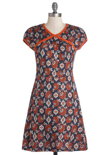 Won't Know Until You Pie Dress by Blutsgeschwister - Short, Knit, Orange, Tan / Cream, Floral, Trim, Casual, A-line, Cap Sleeves, Better, V Neck, Blue, Folk Art