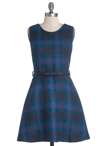 Plaid to Be Back Dress by Miss Patina - Scholastic/Collegiate, Mid-length, Woven, Blue, Purple, Plaid, Bows, Pockets, A-line, Sleeveless, Better, Crew, Belted, Casual