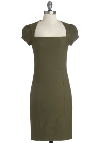 Sleek It Out Dress in Olive - Knit, Green, Solid, Work, Shift, Cap Sleeves, Good, Party, Variation, Mid-length