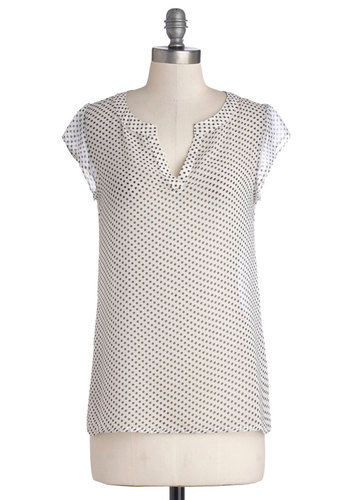 Pretty Giddy Top - White, Black, Polka Dots, Short Sleeves, Good, Mid-length, Sheer, Woven, Casual, V Neck, White, Short Sleeve
