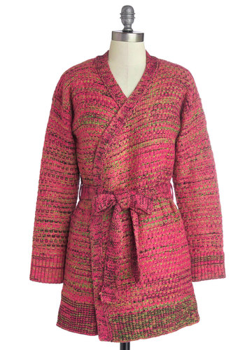 Spirited Saturday Cardigan - Pink, Long Sleeve, Better, Knit, Tan / Cream, Belted, Fall, Winter, Pink, Long Sleeve, Long