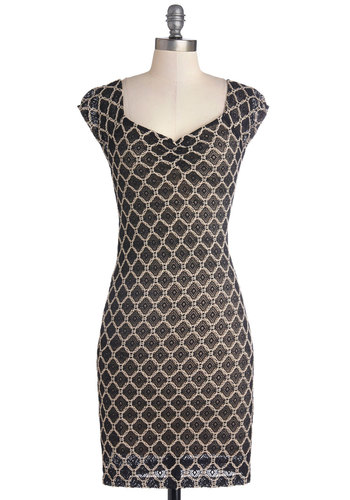 Event Docent Dress - Black, Tan / Cream, Cutout, Girls Night Out, Cap Sleeves, Good, Mid-length, Woven, Print, Party, Cocktail, Bodycon / Bandage, Sweetheart