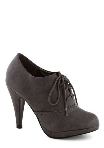 Three Course Hostess Heel - Grey, Solid, Work, High, Good, Platform, Lace Up, Vintage Inspired