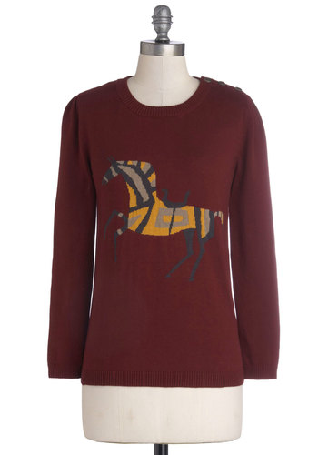 New Gallop in Town Sweater by Dear Creatures - Red, Yellow, Black, Print with Animals, Long Sleeve, Cotton, Knit, Mid-length, Buttons, Casual, Fall, Crew, Red, Long Sleeve