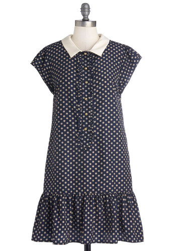 That's the Look Dress by Dear Creatures - Blue, Tan / Cream, Polka Dots, Buttons, Ruffles, Vintage Inspired, Scholastic/Collegiate, Drop Waist, Cap Sleeves, Collared, Better, Mid-length, Woven, Peter Pan Collar, Pockets, Casual, 20s