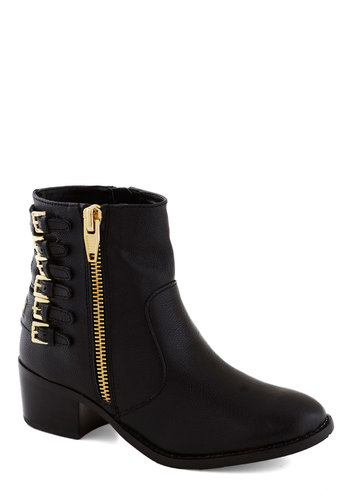 Zippity Split Bootie by Dolce Vita - Black, Buckles, Exposed zipper, Best, Chunky heel, Mid, Leather, Urban, Military