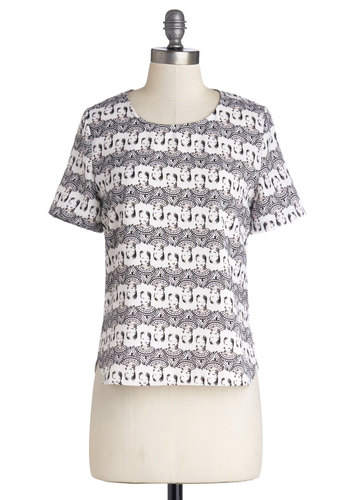 Beauty or Bust Top - Woven, Mid-length, White, Novelty Print, Urban, Short Sleeves, Good, Black, Quirky, Grey, Short Sleeve
