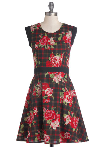 Brunch Among the Blooms Dress by Yumi - Cotton, Woven, Mid-length, Red, Green, Black, Plaid, Floral, Exposed zipper, Party, A-line, Sleeveless, Better, Scoop, Fall, Vintage Inspired, 90s