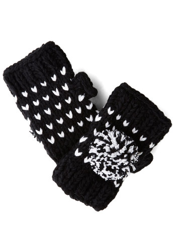 The Pom That I Want Glovettes in Black - Black, White, Solid, Knitted, Poms, Fall, Winter, Variation, Knit, Folk Art