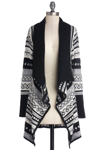 Chalet Getaway Cardigan - Black, Grey, White, Novelty Print, Long Sleeve, Better, Knit, Fall, Black, Long Sleeve, Top Rated