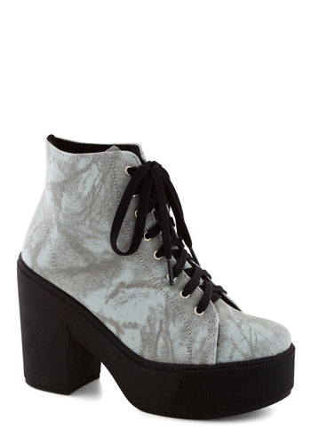 Creek in Mind Bootie - Grey, Vintage Inspired, 90s, High, Better, Platform, Lace Up, Chunky heel, Woven, Black, Girls Night Out