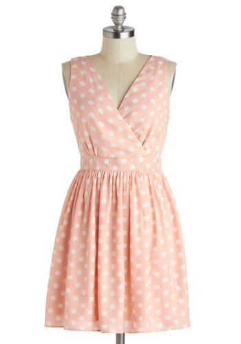 Love Ya Dots Dress - Mid-length, Pink, White, Polka Dots, Buttons, Cutout, Party, A-line, Sleeveless, V Neck, Daytime Party, Vintage Inspired, Pastel, Spring, Summer