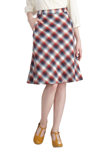 Fresh Forecast Skirt by Myrtlewood - Private Label, Long, Cotton, Woven, Plaid, Pockets, Work, Scholastic/Collegiate, Fall, Exclusives, Multi, A-line, Multi