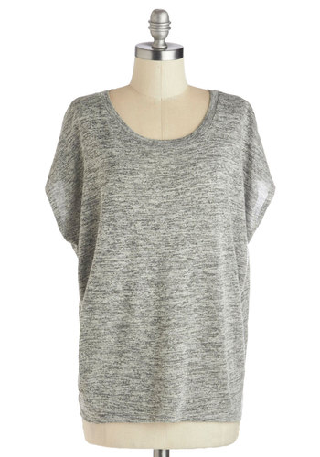 Much Obliged Top - Mid-length, Knit, Grey, Black, Solid, Casual, Short Sleeves, Sheer, Scoop, Grey, Short Sleeve