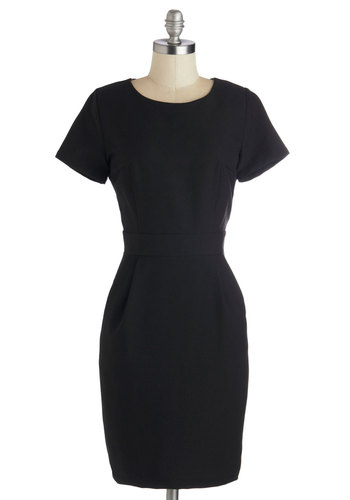 LBD Occasion Dress - Mid-length, Woven, Black, Solid, Pockets, Work, Sheath / Shift, Short Sleeves, Good, Crew, Exposed zipper, Minimal, LBD