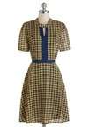 Highest Honor Dress by Louche - Mid-length, Woven, Yellow, Blue, Houndstooth, Cutout, Trim, A-line, Short Sleeves, Better, Crew, Work, Vintage Inspired, 60s