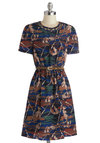 Span the Day Dress by Louche - Mid-length, Woven, Brown, Green, Blue, Tan / Cream, Print with Animals, Belted, Casual, A-line, Short Sleeves, Better, International Designer, Crew, Owls, Halloween