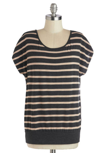 Relaxation Vacation Top - Mid-length, Jersey, Knit, Grey, Tan / Cream, Stripes, Casual, Short Sleeves, Scoop, Grey, Short Sleeve