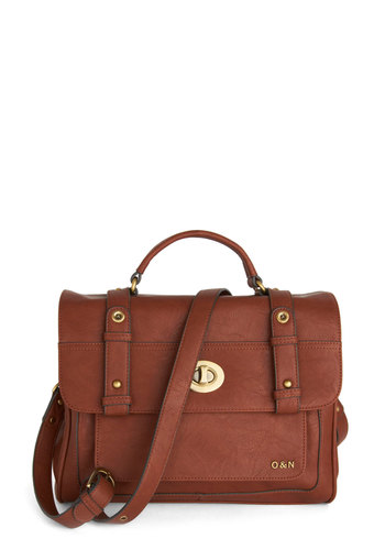Winsome Wayfarer Satchel by Ollie & Nic - Faux Leather, Gold, Solid, Best, Brown, Work, Travel, International Designer