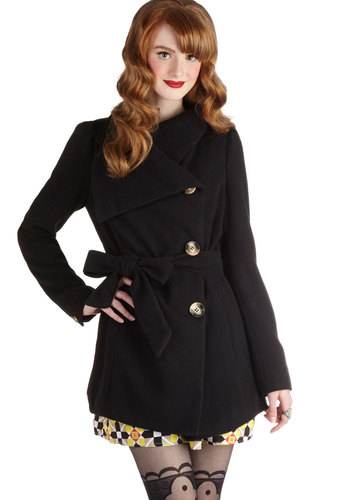 Carefully Chosen Coat in Black - Long, 3, Black, Solid, Buttons, Pockets, Belted, Long Sleeve, Fall, Winter, Variation, Black, Gifts Sale