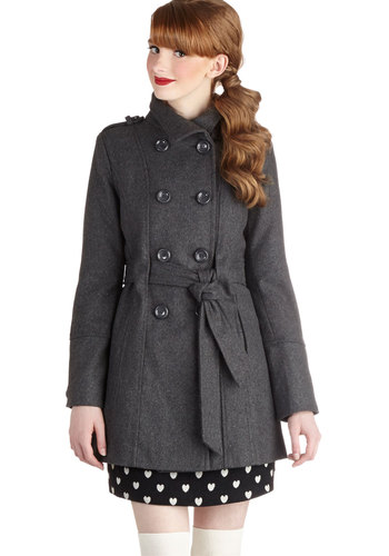 Glad Student Coat in Grey - Long, 3, Grey, Solid, Buttons, Epaulets, Pockets, Belted, Double Breasted, Long Sleeve, Fall, Winter, Variation, Grey