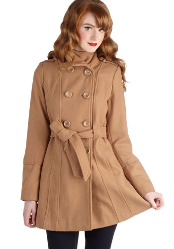 Glad Student Coat in Camel - Long, 3, Tan, Solid, Buttons, Pockets, Belted, Double Breasted, Long Sleeve, Fall, Winter, Variation, Epaulets, Brown
