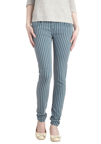 Line over Matter Pants - Blue, White, Stripes, Pockets, Casual, Skinny, Denim, Woven