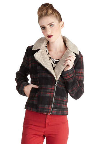Kickoff the Season Jacket by Jack by BB Dakota - 3, Plaid, Exposed zipper, Casual, Rustic, Long Sleeve, Good, Collared, Short, 90s, Multi, Multi, Winter
