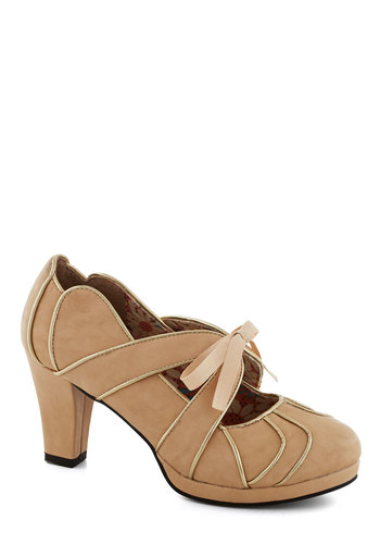 Eventful of Life Heel by Bettie Page - Tan, Trim, Wedding, Graduation, Bridesmaid, Mid, Platform, Lace Up, Faux Leather, Gold, Better