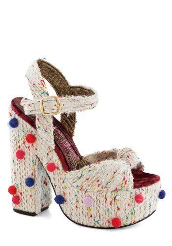 Surprise Party Planner Heel by Irregular Choice - White, Multi, Polka Dots, Poms, Woven, Statement, Kawaii, High, Platform, Chunky heel, International Designer, Folk Art, Woven