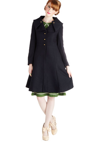 Pier Before Your Eyes Coat by Myrtlewood - 3, Blue, Solid, Buttons, Long Sleeve, Better, Exclusives, Long, Woven, Private Label, Blue