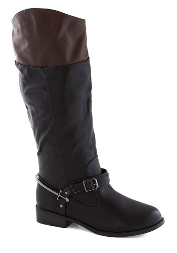 Leading the Cheers Boot - Black, Buckles, Steampunk, Colorblocking, Faux Leather, Low, Good, Brown, Casual, Fall
