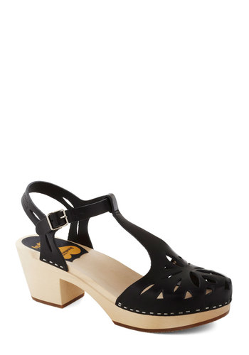 Cutout for Anything Heel in Black by Swedish Hasbeens - Black, Cutout, Mid, Best, Platform, Chunky heel, International Designer, Solid, Leather