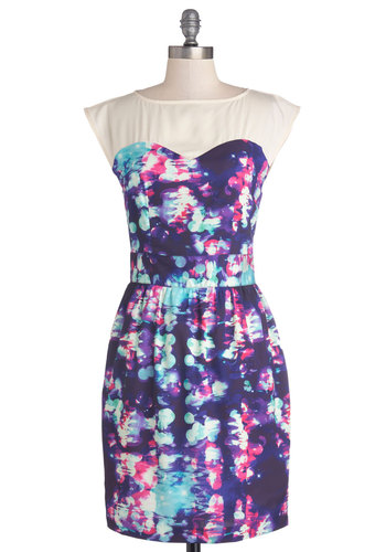 Hit the Spotlight Dress - Purple, Multi, Print, Party, A-line, Sleeveless, Better, Woven, Mid-length, Blue, Pink, White