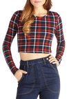 Fashion Scholar Top - Short, Knit, Multi, Red, Blue, White, Plaid, Casual, Cropped, Long Sleeve, Fall, Crew