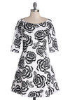 Moonlit Roses Dress - Floral, A-line, 3/4 Sleeve, Good, Boat, Mid-length, Knit, Black, White, Daytime Party